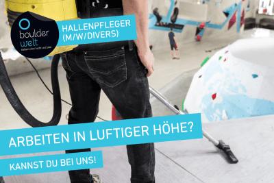 Boulderwelt Frankfurt sucht Hallenpfleger.