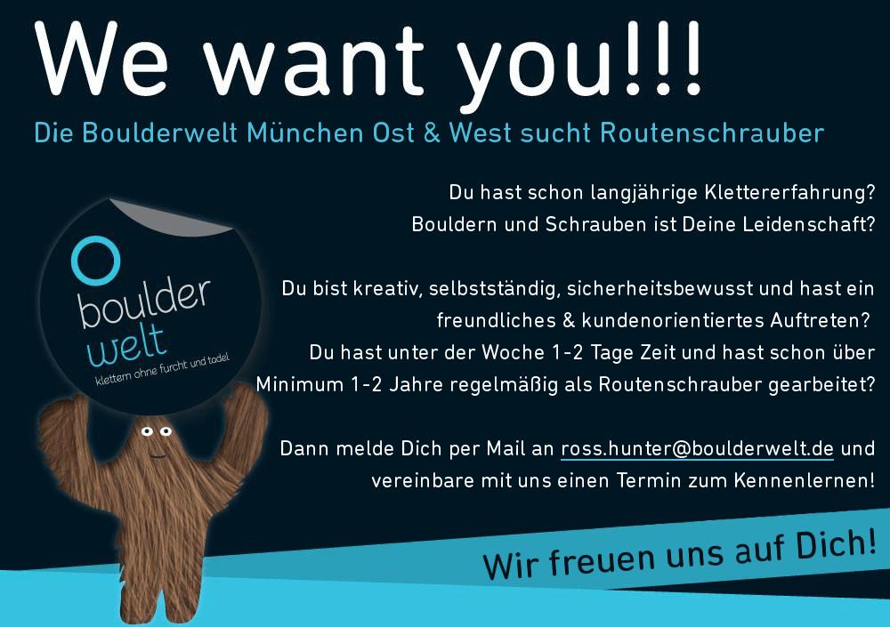 Stellenausschreibung Routenbau Routenschrauber Boulderwelt München