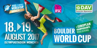 Ankündigungs Banner für den Boulder Worldcup 2017 im Olympiastadion.