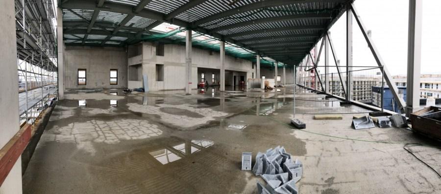 Erste Fotos von der Baustelle der neuen Halle. Die Boulderwelt München Ost zieht im September 2019 um.