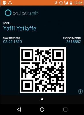 QR Code Boulderwelt Kundenkarte