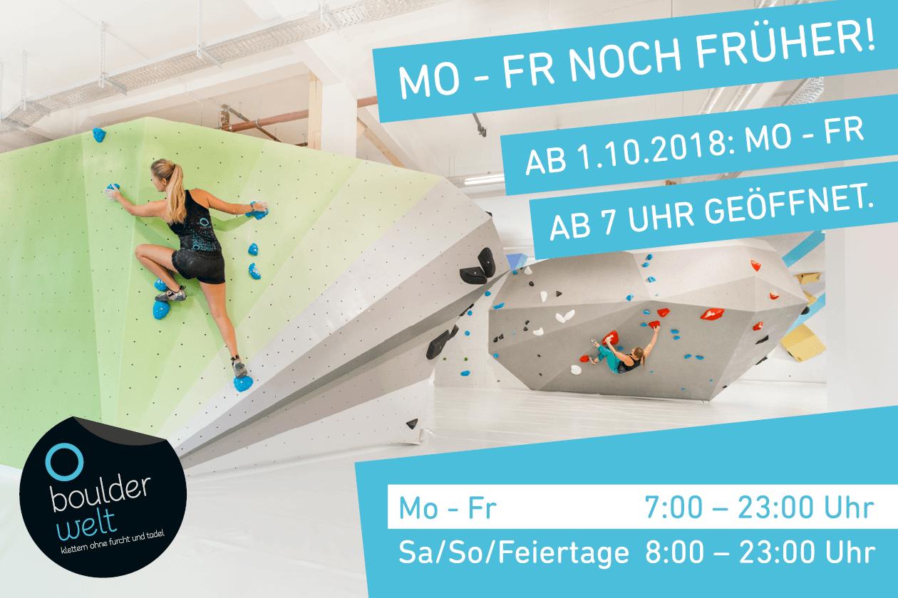 Ab Oktober 2018 öffnet die Boulderwelt München West von Montag bis Freitag bereits um 7 Uhr.