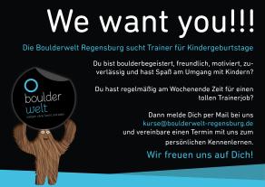 Stellenausschreibung Kindergeburtstag Trainer Boulderwelt Regensburg 2017