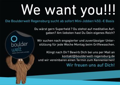 Mini-Jobber für Unterstützung beim Griffewaschen in der der Boulderwelt Regensburg gesucht.