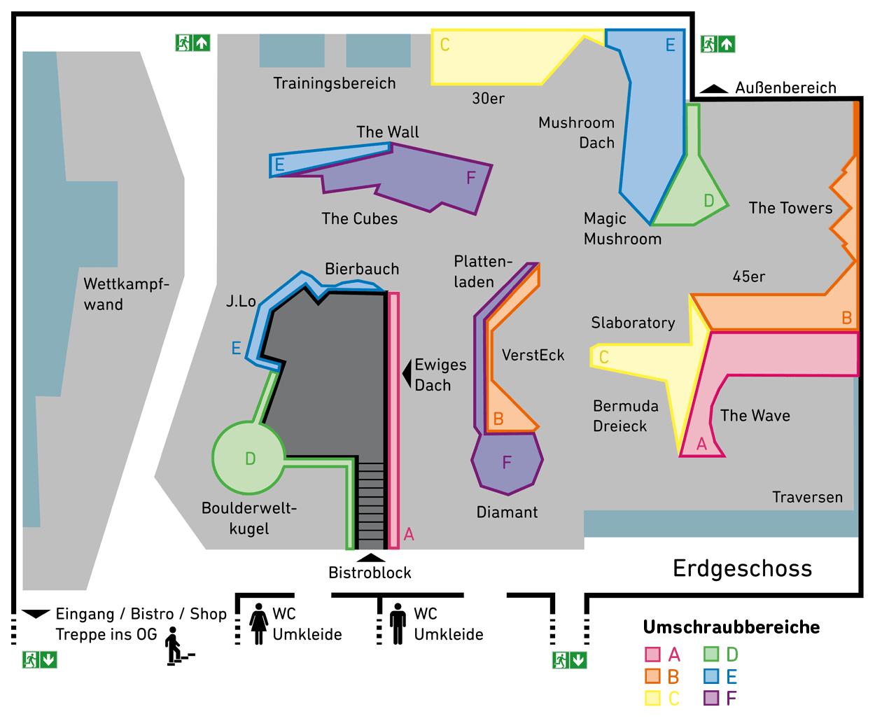 Hallenplan der Boulderwelt Regensburgen mit den Umschraubbereichen im