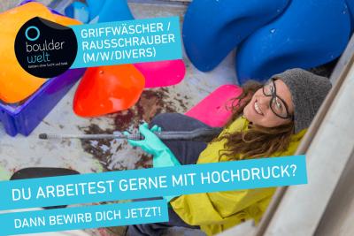Stellenausschreibung Boulderwelt Regensburg sucht Griffwäscher/Rausschrauber