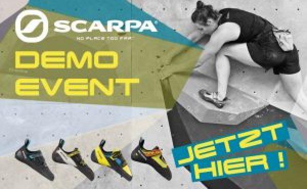 Am 11.12.2019 findet in der Boulderwelt Regensburg von 17 bis 21 Uhr ein Scarpa Demo Event statt, wo Ihr 7 verschiedene Schuhmodelle an der Wand testen könnt!