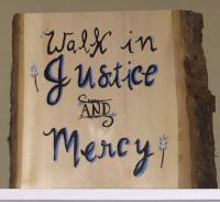 Painting by Katie Cleveland of Walk in Justice and Mercy