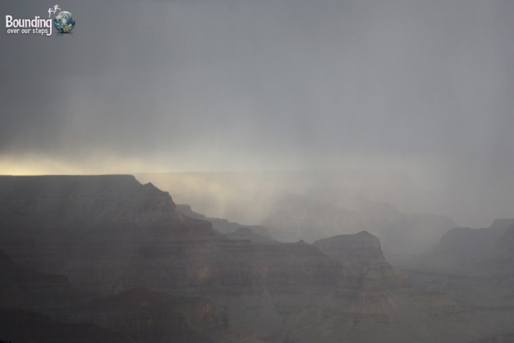 Rain rolling through the Grand Canyon from Mohave Point