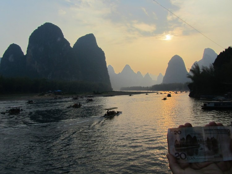 Hiking Along the Li River - Yangshuo - Sunset with Karst Peaks