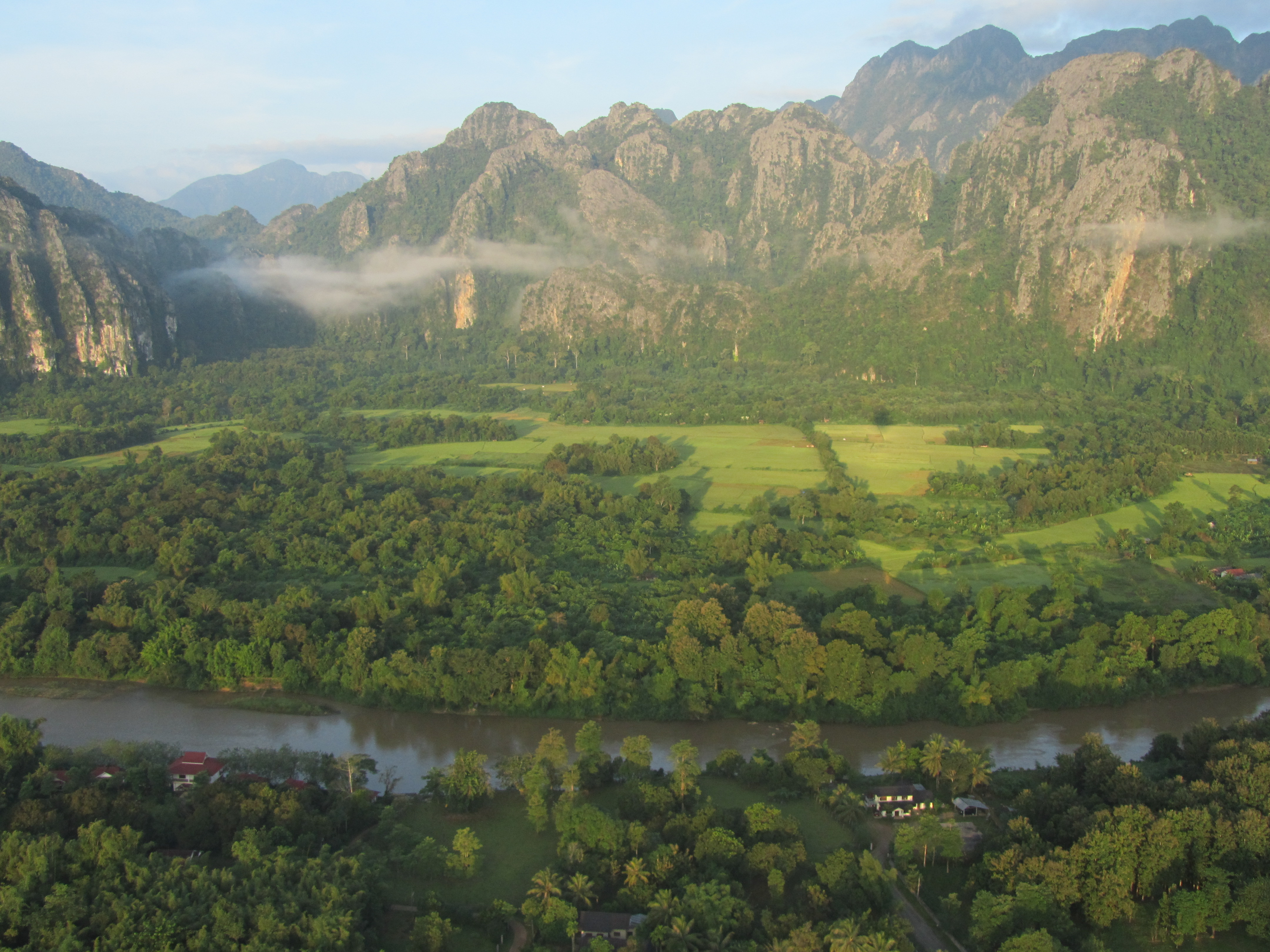 View from Hot Air Balloon of Karst Mountains in Vang Vieng