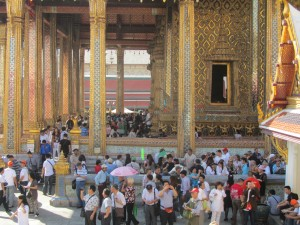Large crowd at Grand Palace in Bangkok, Thailand