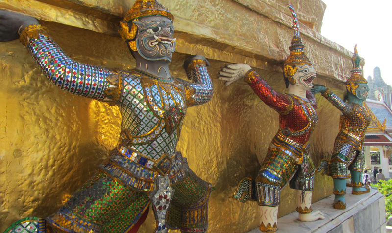 Monkey statues at the Grand Palace in Bangkok, Thailand