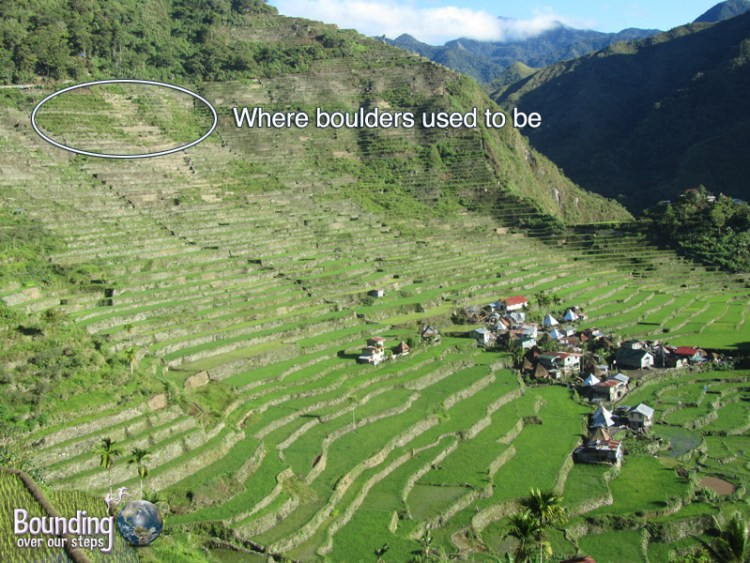Original position of the boulders at the top of the Banaue Rice Terraces above Batad