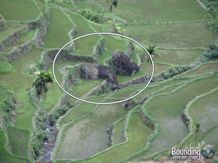 Current position of boulders near pig stream of Batad in the Banaue Rice Terraces