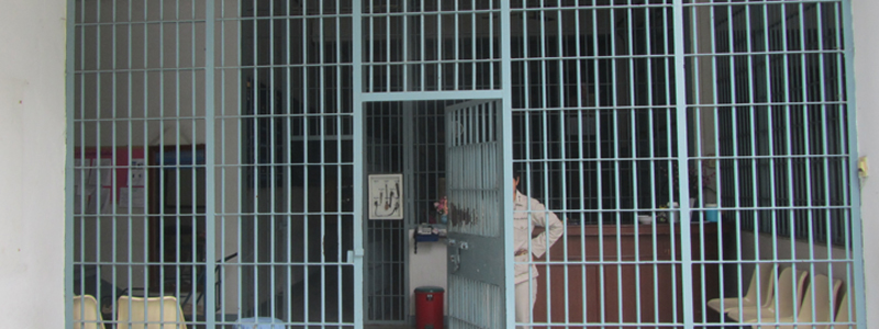 The bars of the women's prison in Chiang Mai, Thailand