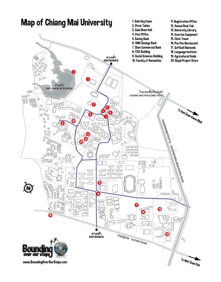 A printable map of Chiang Mai University