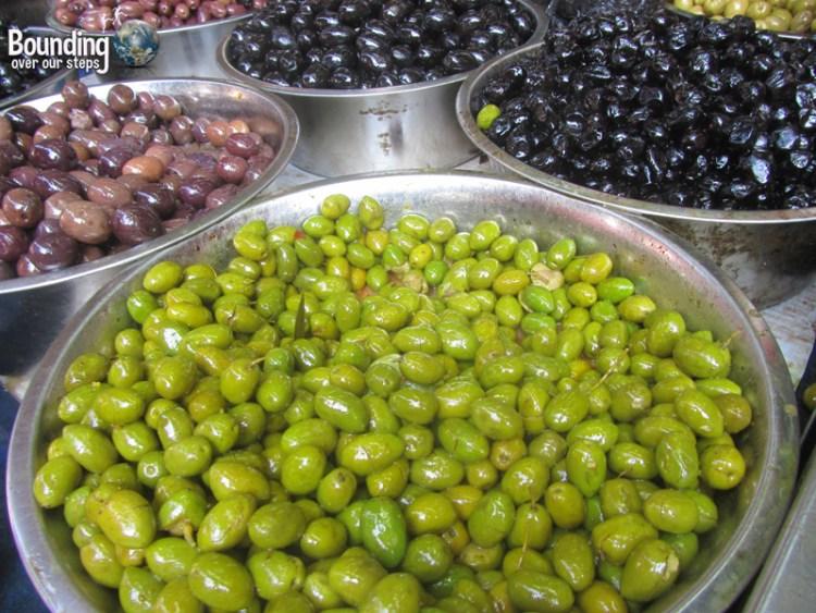 Delicious olives in the Carmel Market in Tel Aviv
