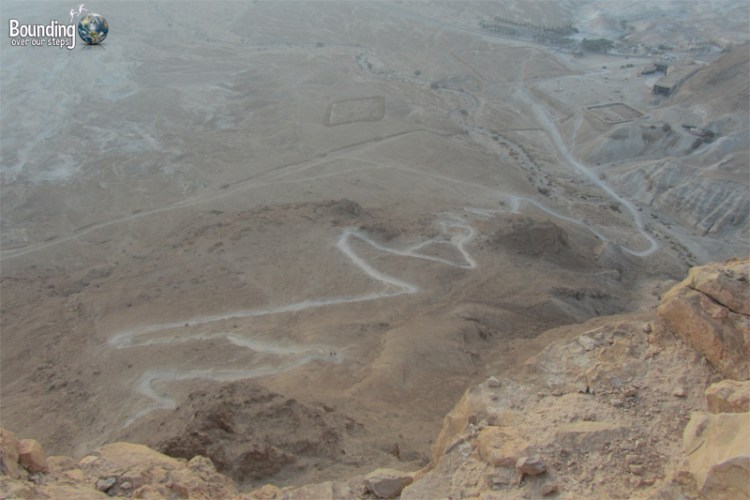 A view of the winding snake path hike up to Masada