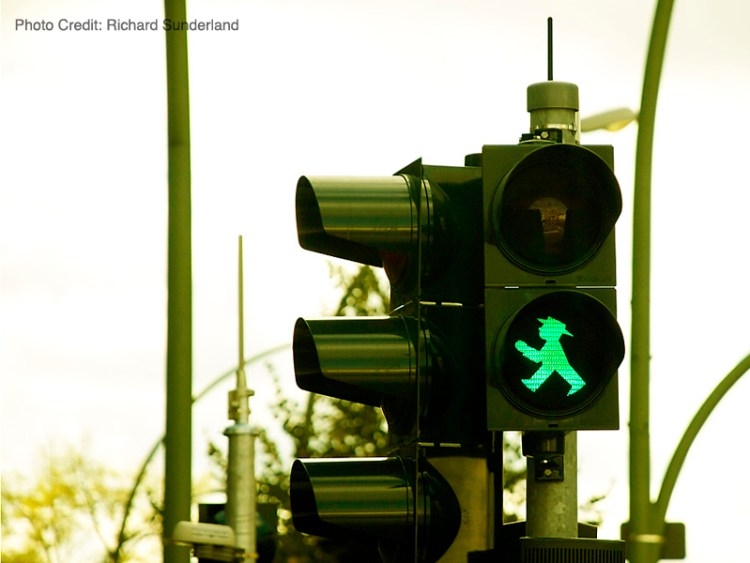Famous East Berlin Walking Man or Ampelmann to cross streets