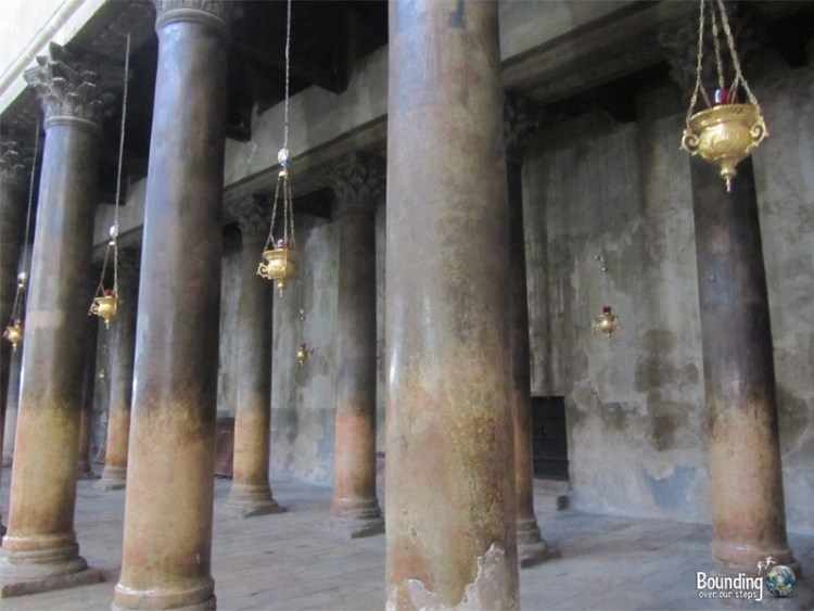 Beautiful pillars inside the Church of Nativity in Bethlehem, Palestine