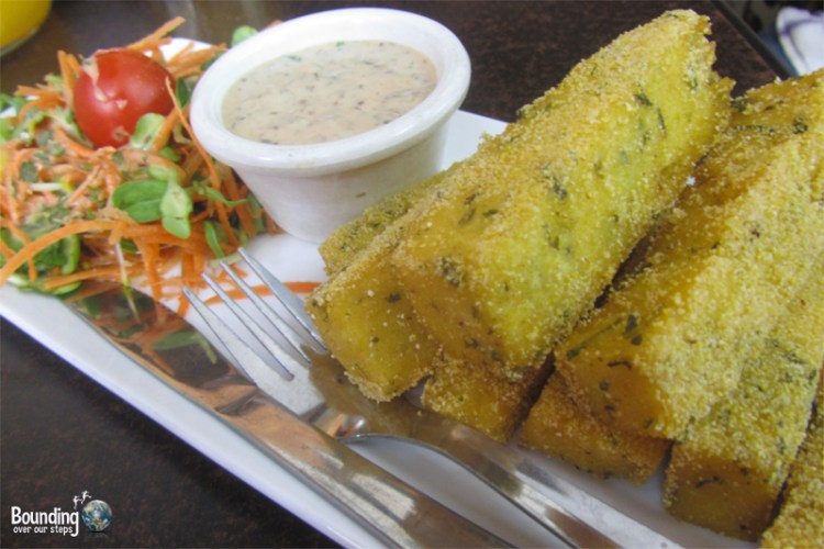 Polenta Fingers served with a creamy dipping sauce