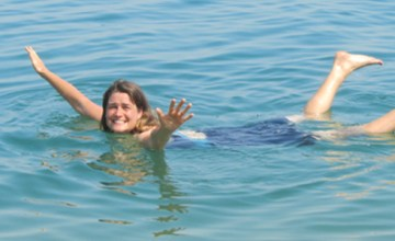 Ligeia floating in the Dead Sea