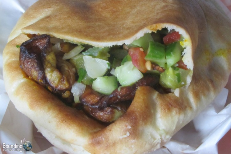 Sabich, a pita stuffed with grilled eggplant and other yummy stuff