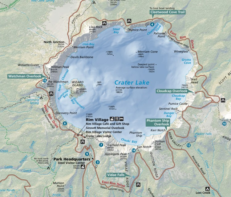 Map of Crater Lake