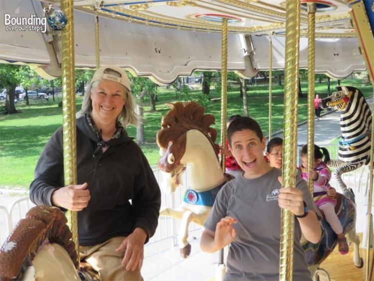Having fun on the carousel in Boston Common