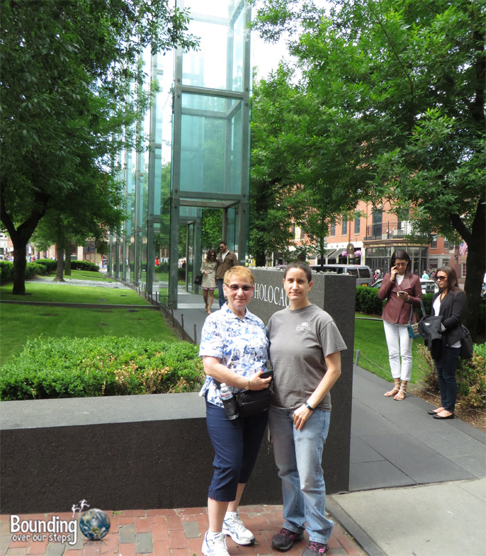 Mindy and her mom at the Holocaust Memorial in Boston
