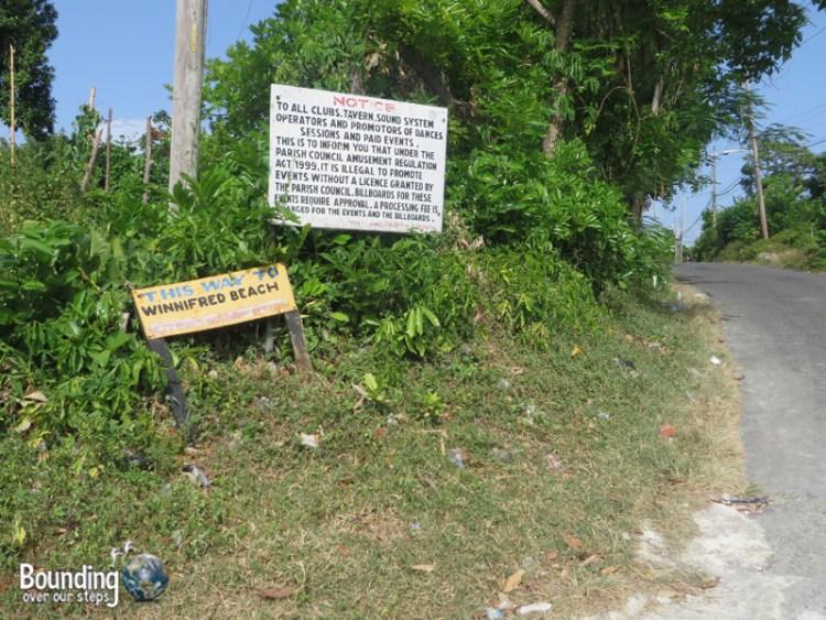 Winnifred Beach - Sign