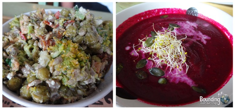 Pea salad and beet soup