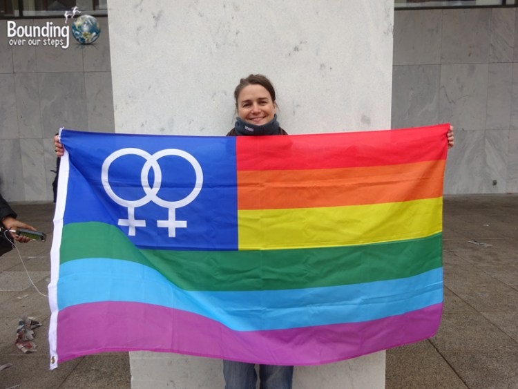 Womens March DC - Ligeia with Lesbian Flag