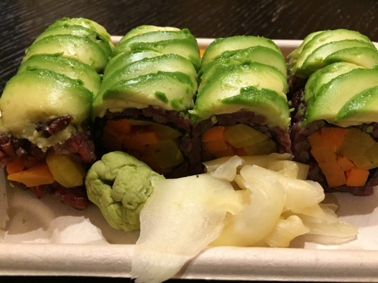 Our Vegan Weekend in NYC - Pickle Me sushi roll from Beyond Sushi