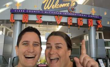 At Vegas airport during our year of domestic travel