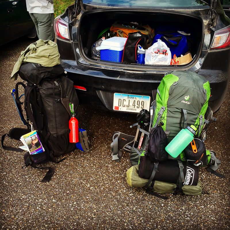 Fully loaded backpack for a week long hike in Banff National Park, Alberta Canada. Landscape photography.