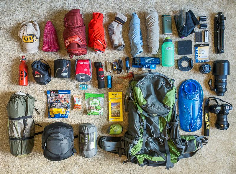 Landscape photography backpack Trekking Gear arrangement for multi day hike. Deuter Pack.