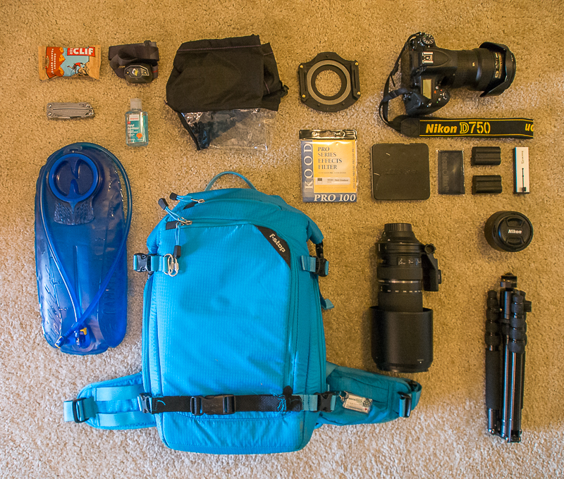 Landscape photography camera gear backpack for a day hike. Fstop gear kenti pack. Nikon D750.