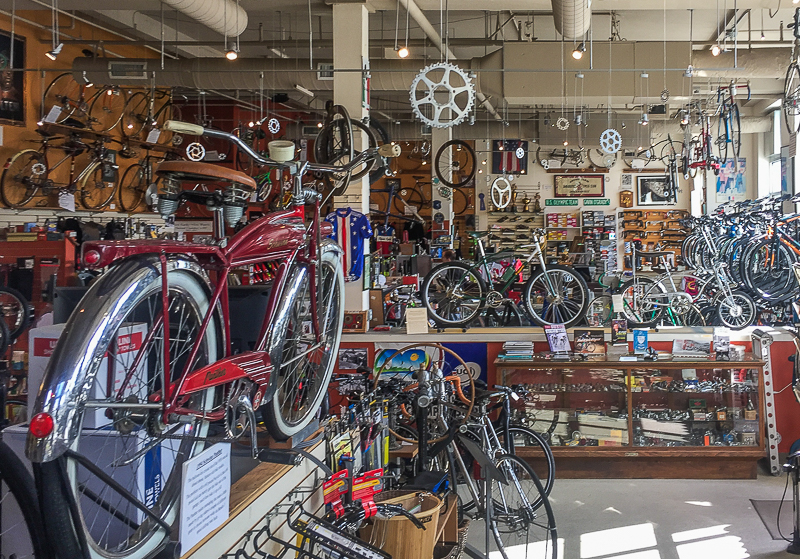 Classic cycle bike shop on Bainbridge Island, Washington. Antique bicycle museum.Boundless Journey