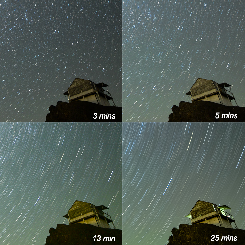 Comparison of exposure time for star trail astrophotography.