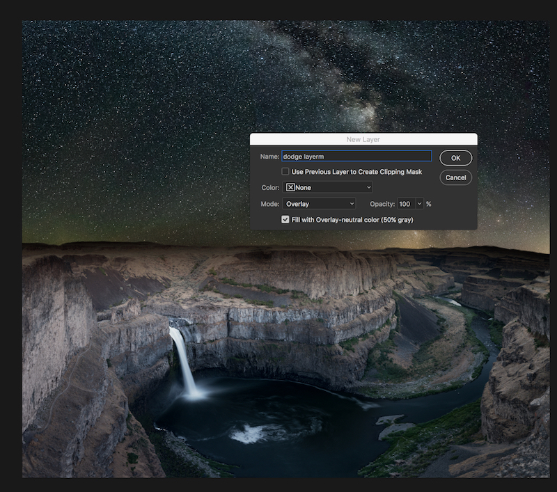 Create a new dodge layer. Boundless Journey photo of Milky Way over Palouse Falls in Washington.