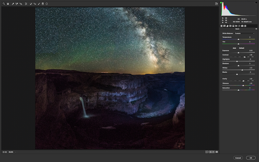Use Camera Raw Filter to adjust the sky. Boundless Journey photo of Palouse Faills.