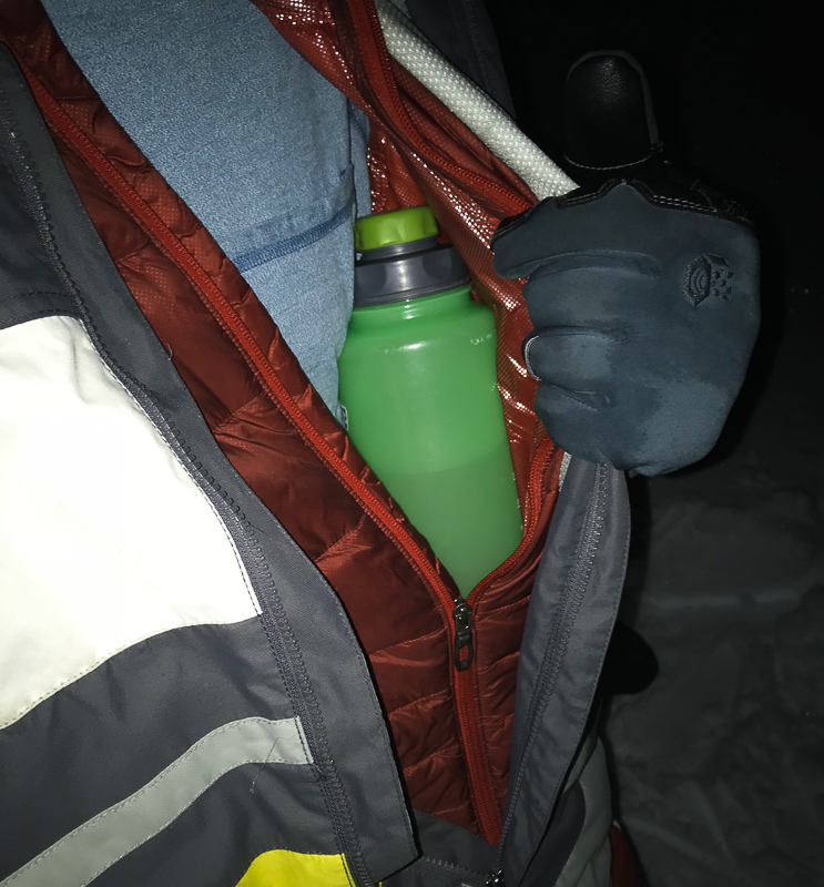 A warm water bottle does wonders when winter camping. Boundless Journey.