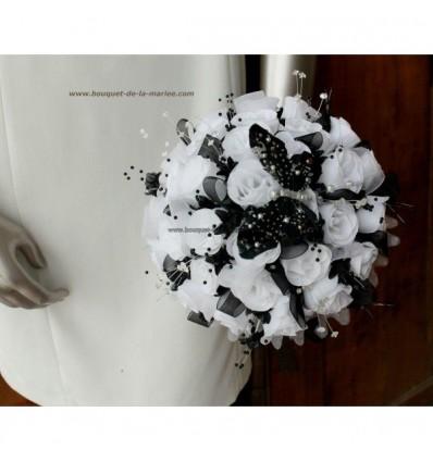Bouquet Marie Noir Et Blanc Avec Papillon Et Strass