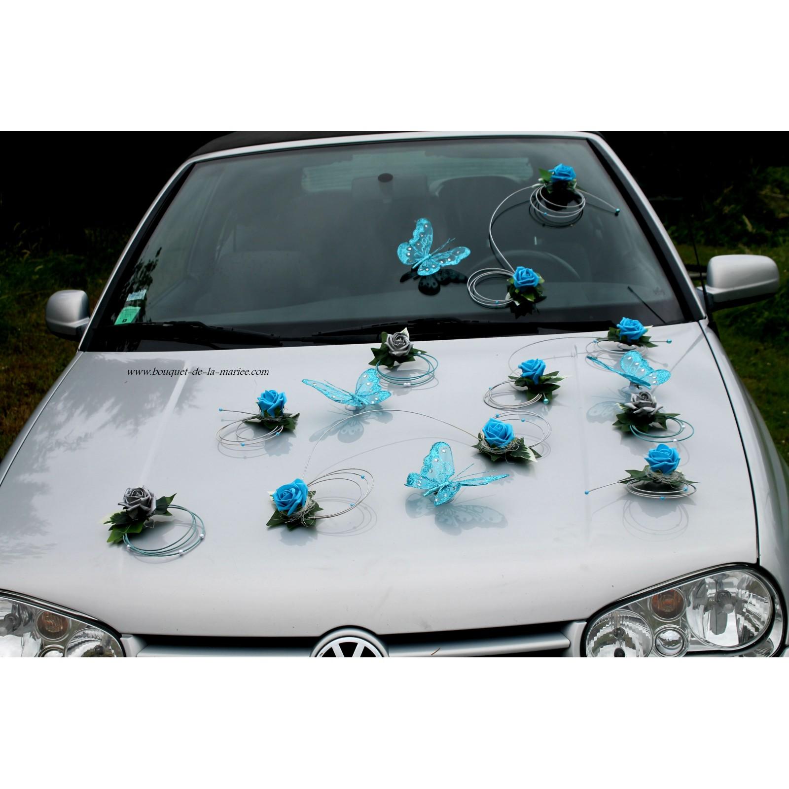 Dcoration Voiture Mariage Turquoise Gris Argent Papillon