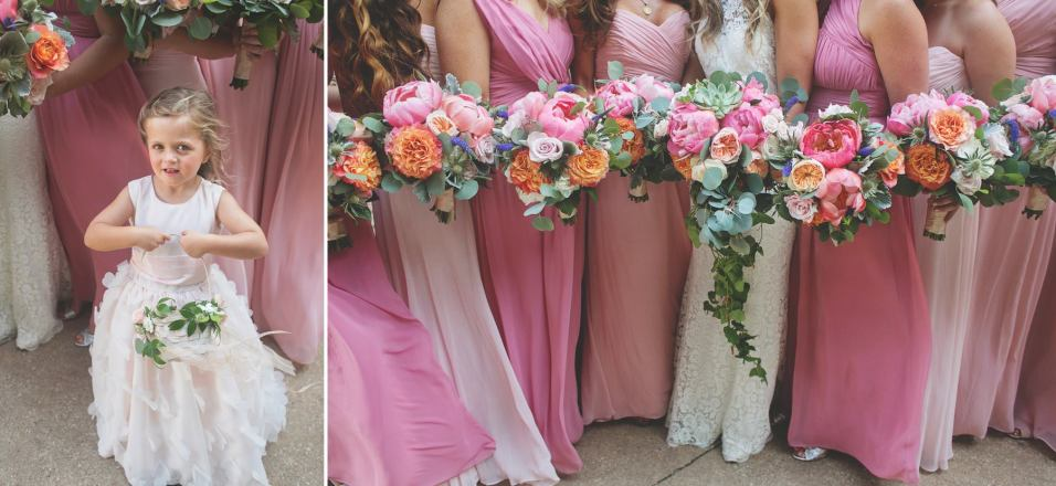 Coral peony and orange roses in summer bridesmaids bouquets.
