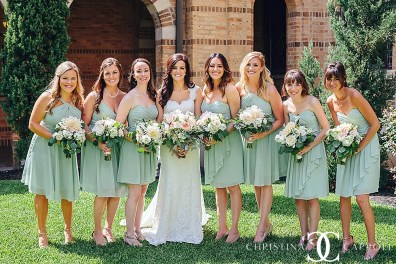 Bride and bridesmaids with pastel bouquets at Central Christian Church.