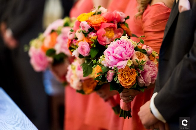 Pink peony, orange roses and coral berries for bridesmaids.