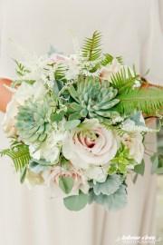 succulent fern ivory bouquet